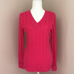 Hot pink v-neck sweater by Inked & Faded